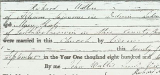 Marriage record for Richard MUTTON & Mary SHORT
