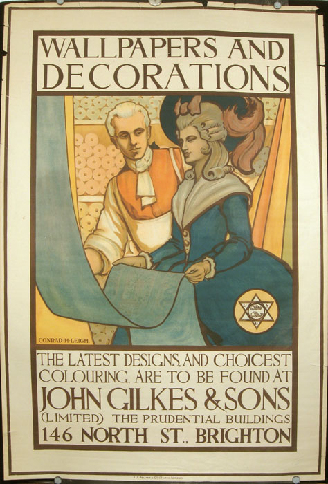 Advertising Poster for John Gilkes & Sons of 146 North Street, Brighton, Sussex, ENGLAND