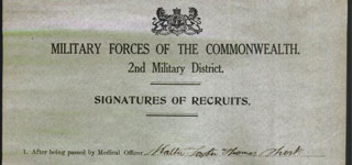 <b>Signatures of Recruits - SHORT, Walter Foster Thomas</b>