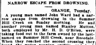 Narrow escape from drowning.